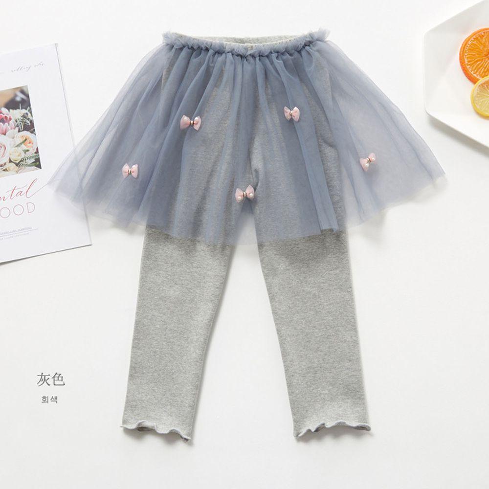 FANMOU - 內搭褲裙-蝴蝶結紗裙-灰色