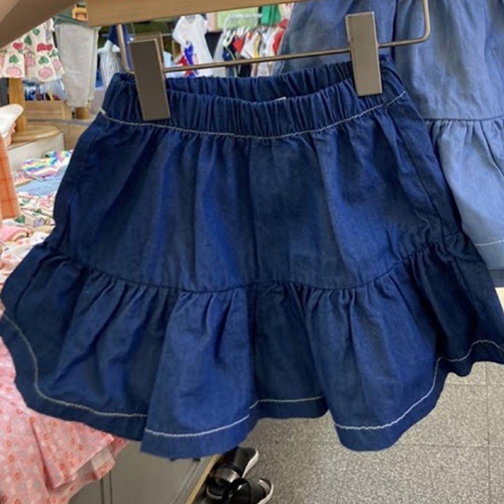 韓國 Orange Mom - 荷葉寬口褲裙-深藍