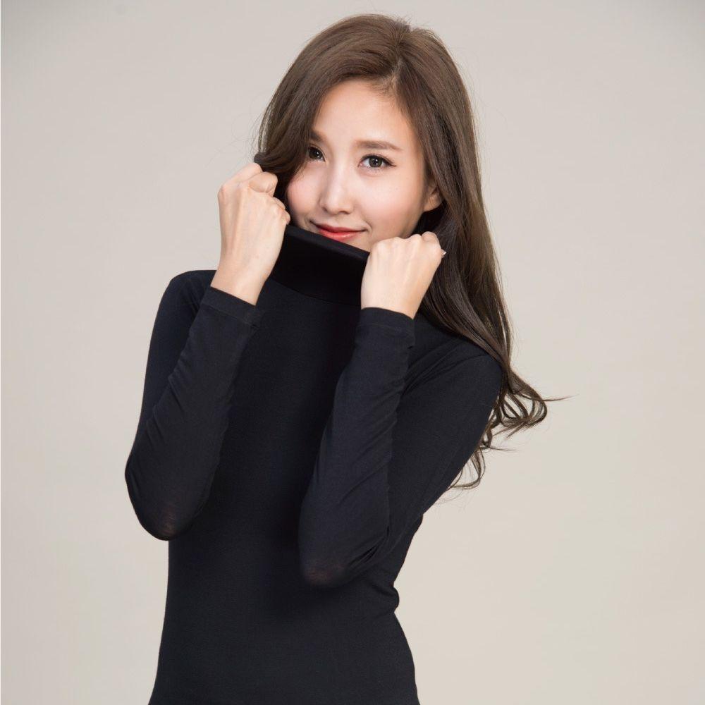 貝柔 Peilou - TENCEL日本吸濕發熱纖維保暖衣-女高領-黑色