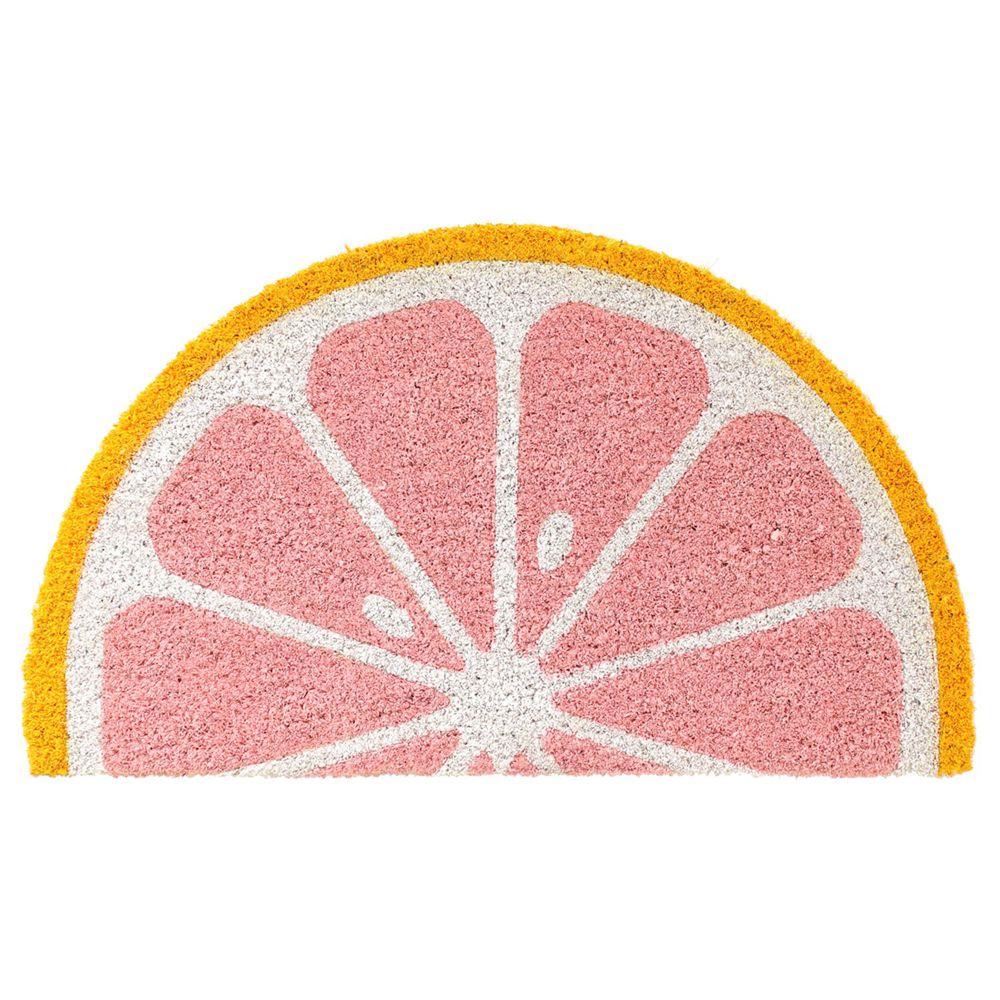 日本 TOMO - (室外款)半圓形刮泥沙地墊-檸檬-粉 (約35x60cm)