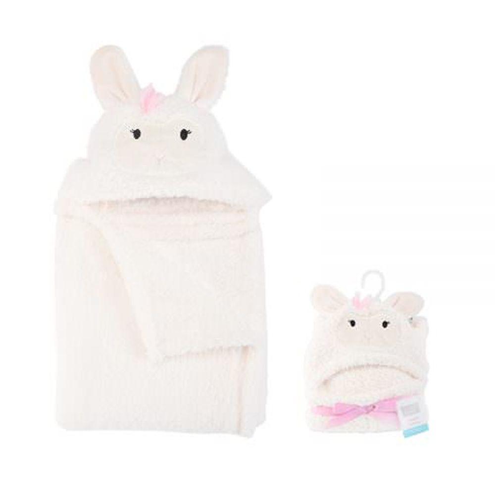 美國 Luvable Friends - 嬰幼兒動物造型連帽安撫毯/小毯子/嬰兒毯-米白小兔