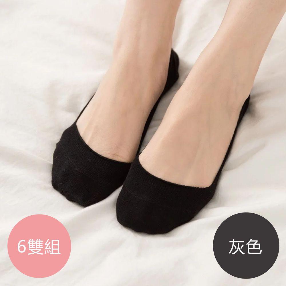 貝柔 Peilou - 貝柔0束痕柔棉止滑襪套-彩色繽紛/素色(6雙組)-灰色 (22-26 cm)