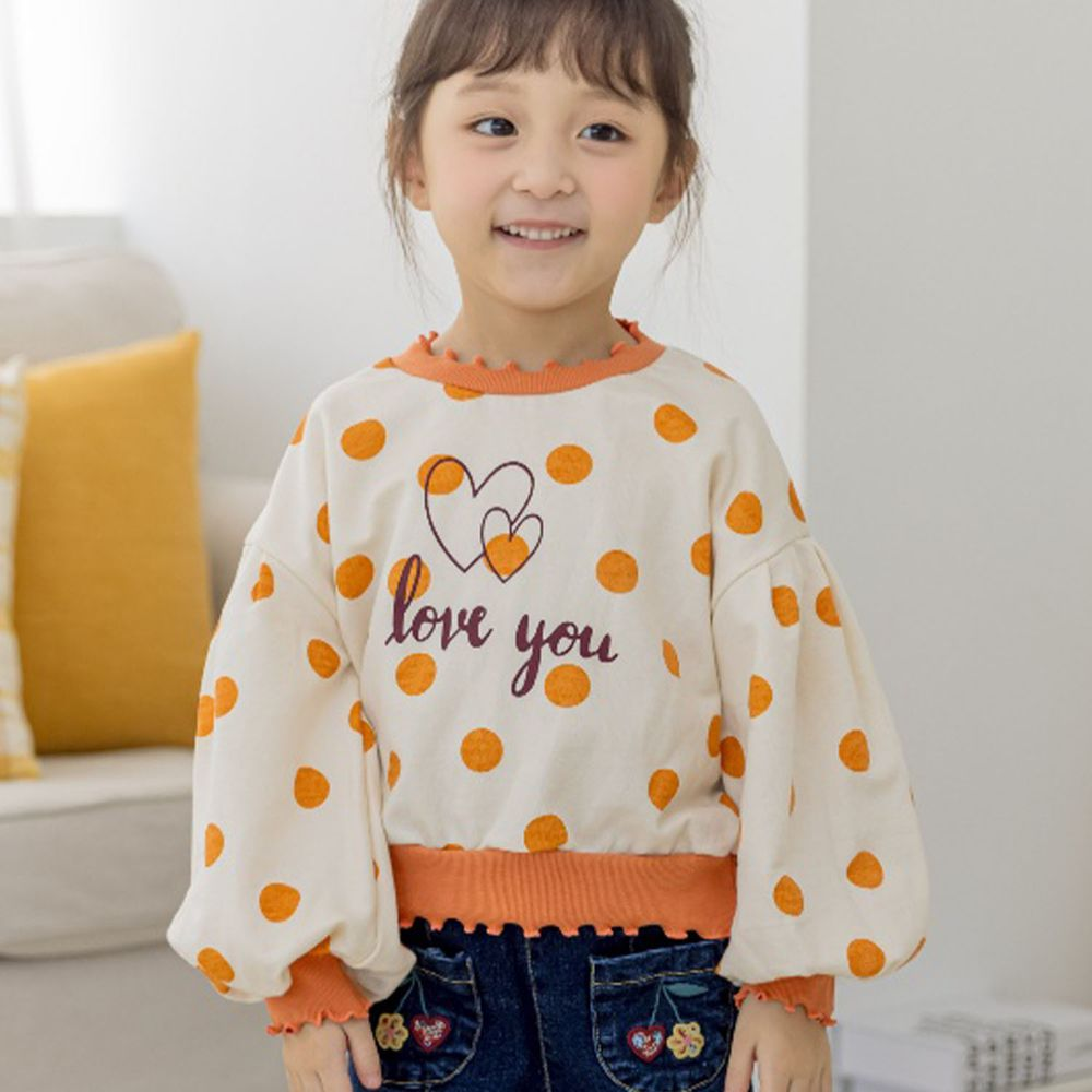 韓國 Orange Mom - 波點泡泡袖T-米白