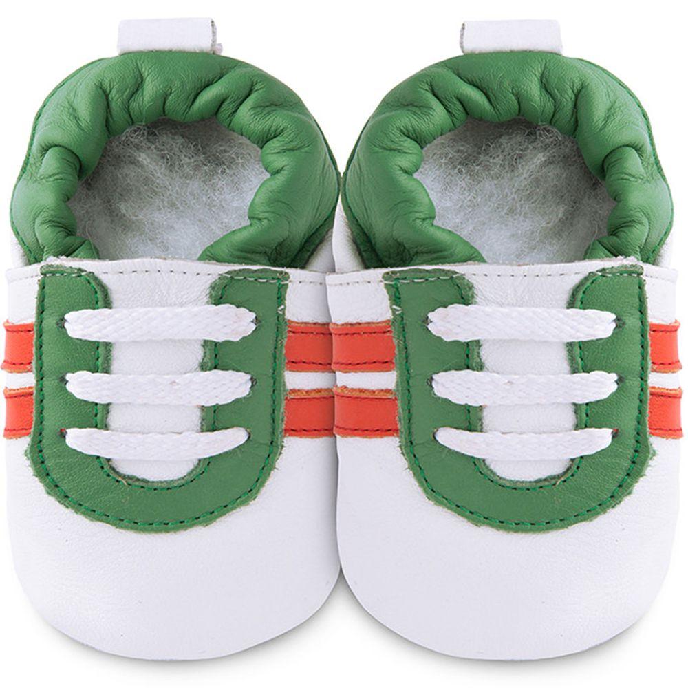 英國 shooshoos - 健康無毒真皮手工鞋/學步鞋/嬰兒鞋/室內鞋/室內保暖鞋-白底/綠紅運動型