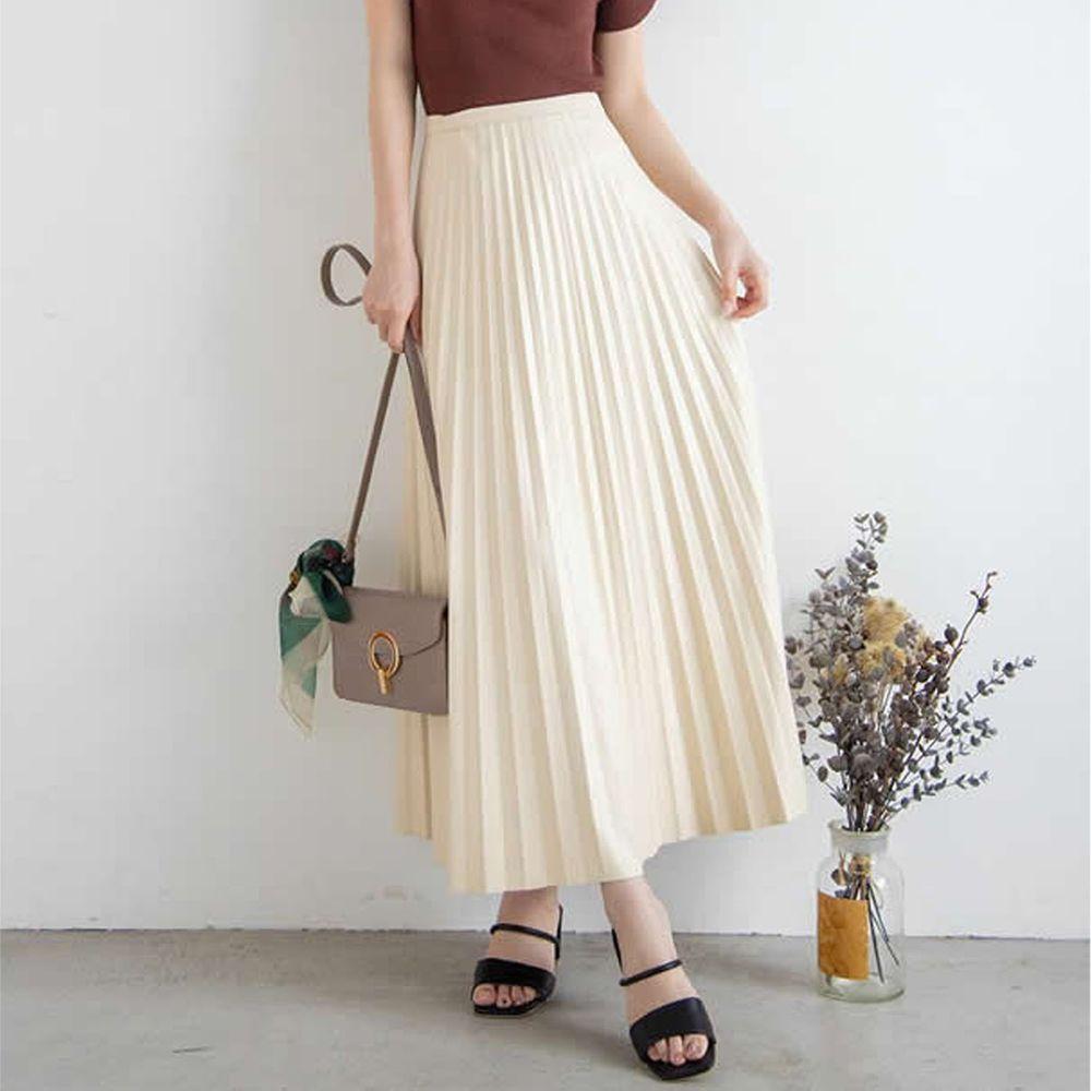 日本 GRL - 光澤皮質百褶長裙-米