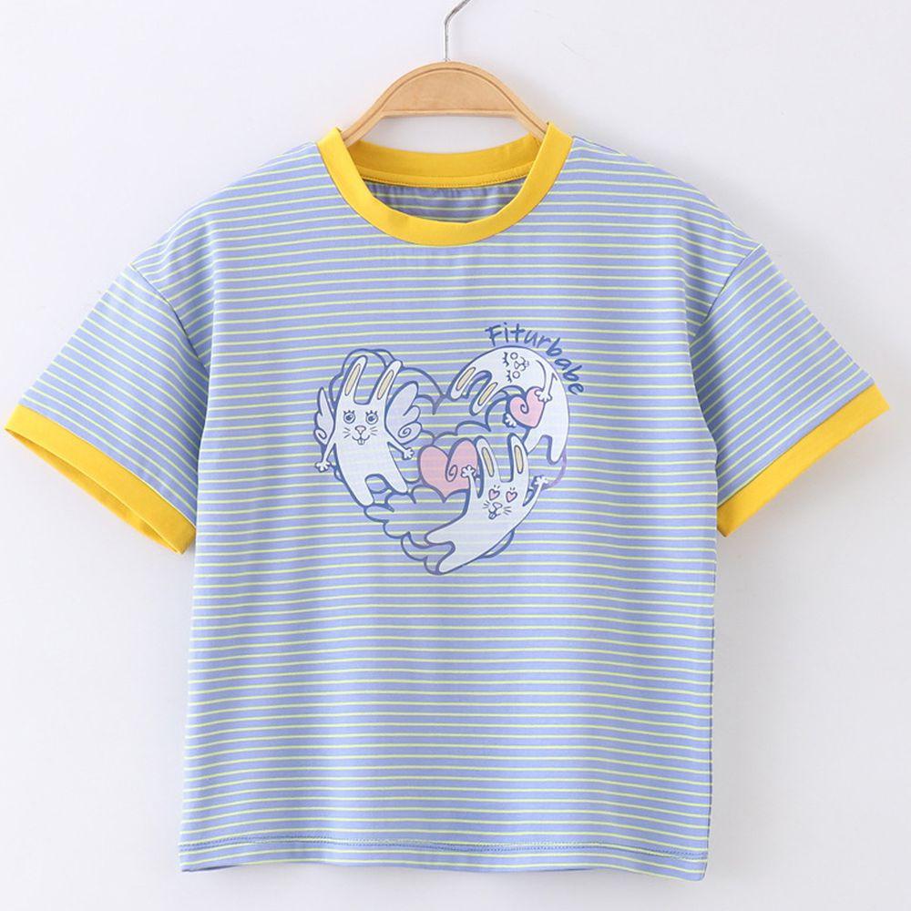 FitUrBabe - 彈力棉質短袖上衣-條紋小兔-藍色