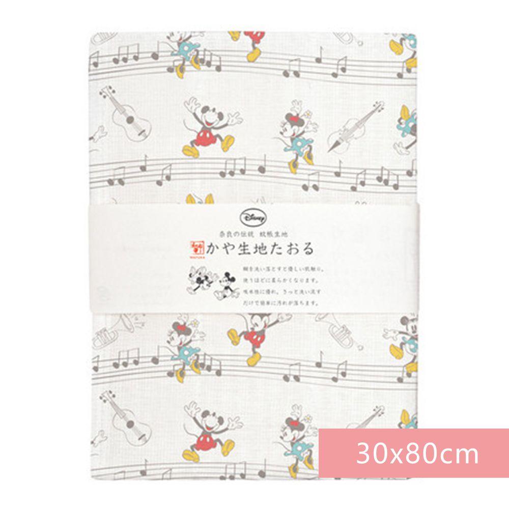 日本代購 - 【和布華】日本製奈良五重紗 長毛巾-米奇米妮音符 (30x80cm)