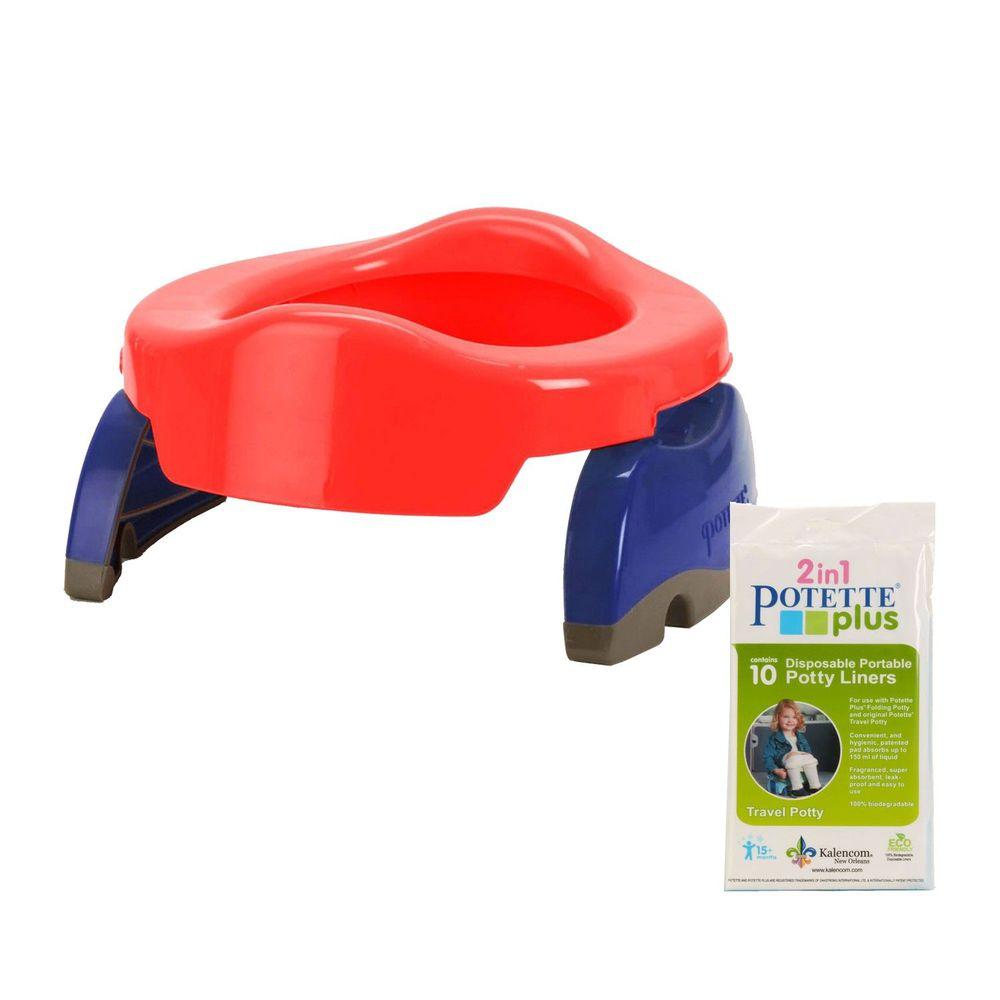 美國 Potette Plus - 可攜式馬桶-紅色+拋棄式防漏袋10入裝)