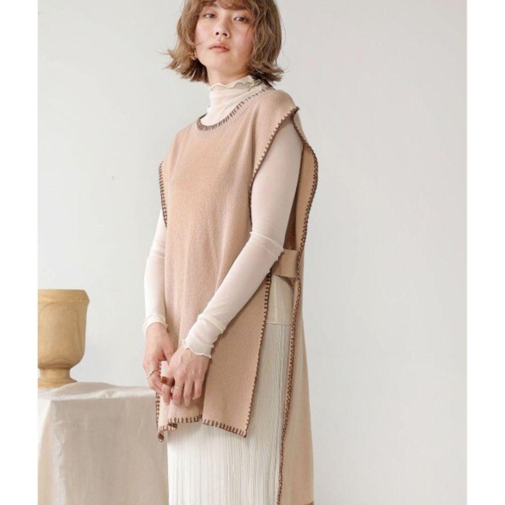 日本 Bou Jeloud - 縫線撞色設計長版針織背心-杏