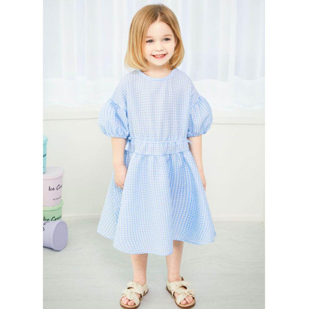 韓國 Jelispoon - 清新藍格紋泡泡袖縮腰洋裝