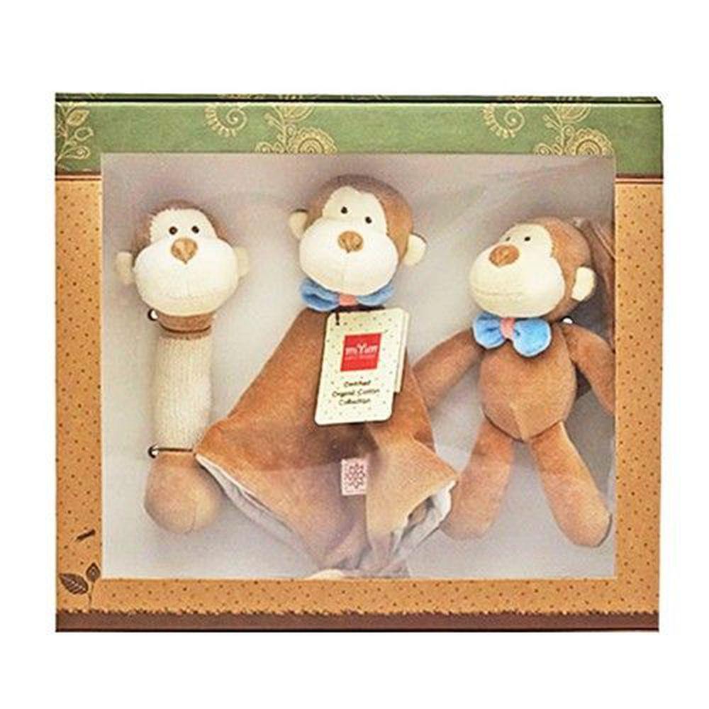 miYim - 安撫玩具禮盒 (手搖鈴+安撫巾+吊掛娃娃)-布布小猴
