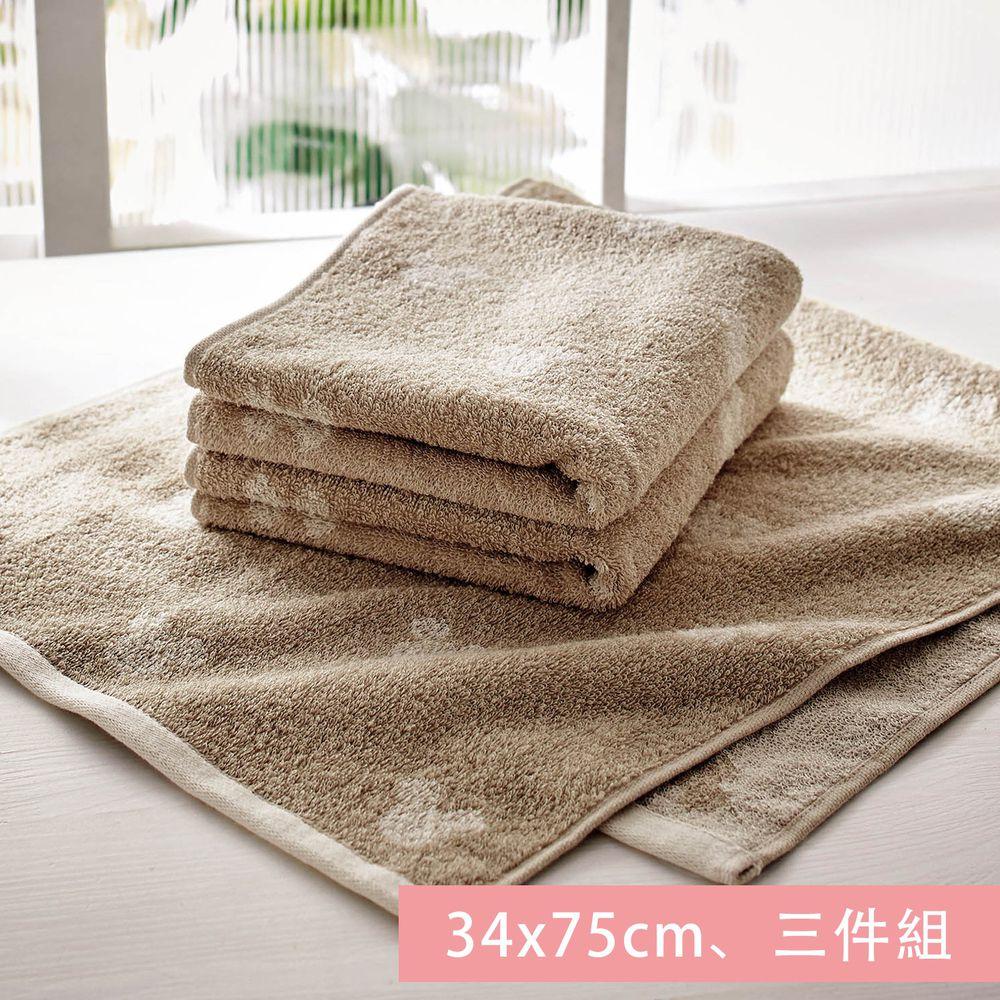 日本千趣會 - 迪士尼 純棉長毛巾三件組-米奇頭-杏 (34x75cm)