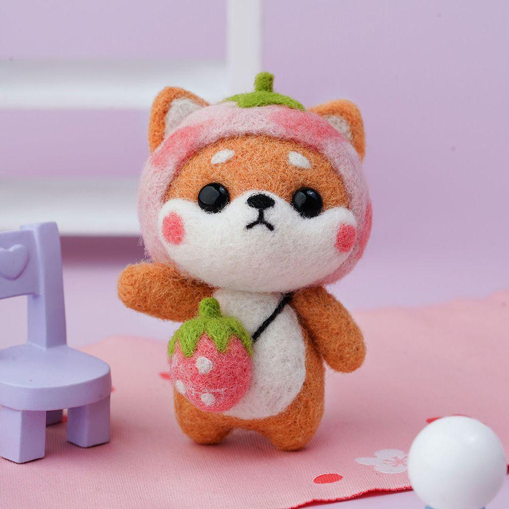 Diy療癒柴犬羊毛氈戳戳樂材料包-粉嫩草莓柴犬