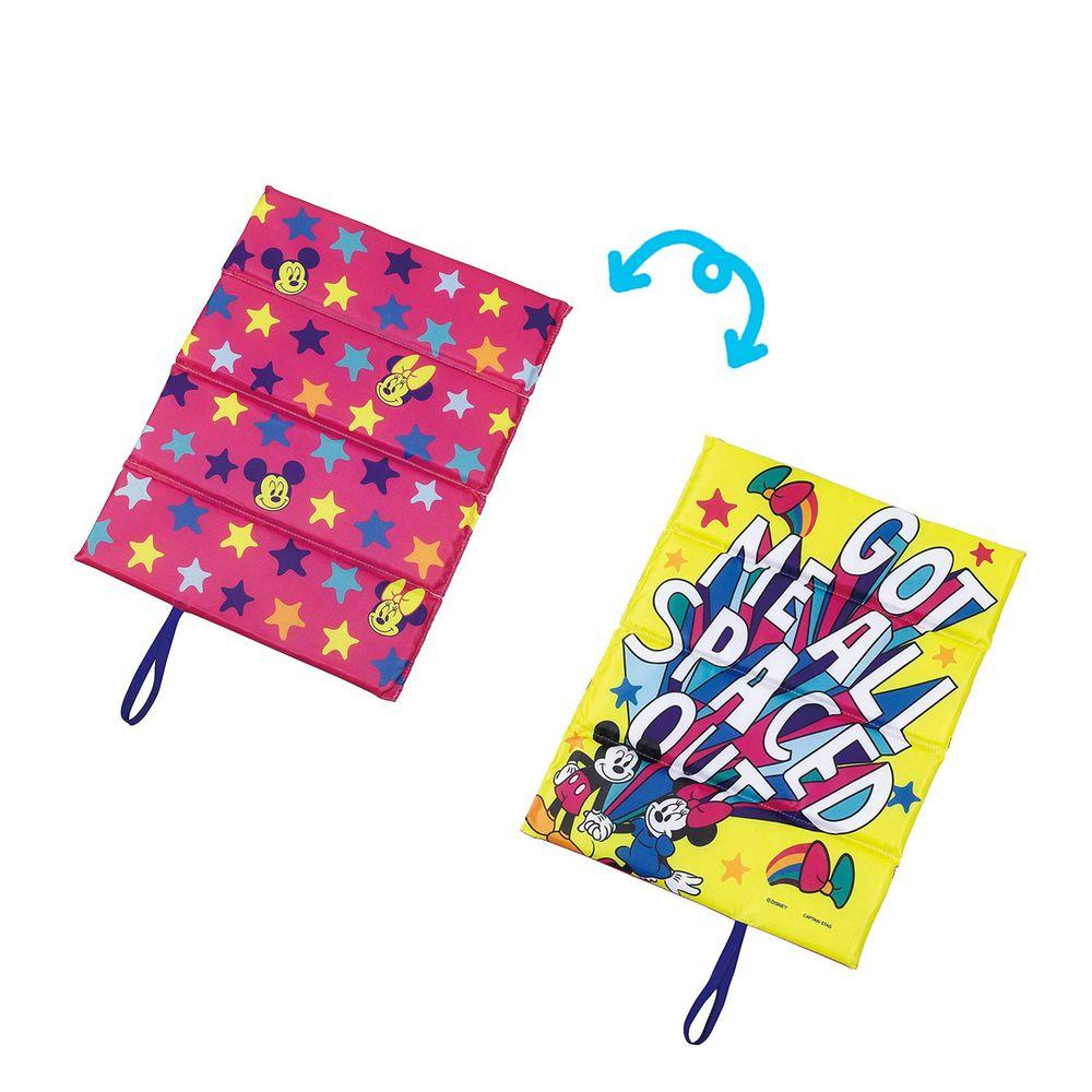 日本 Pearl 金屬 - 迪士尼單人折疊坐墊(1cm厚)-米奇米妮星星-黃X粉 (34×27.5cm)