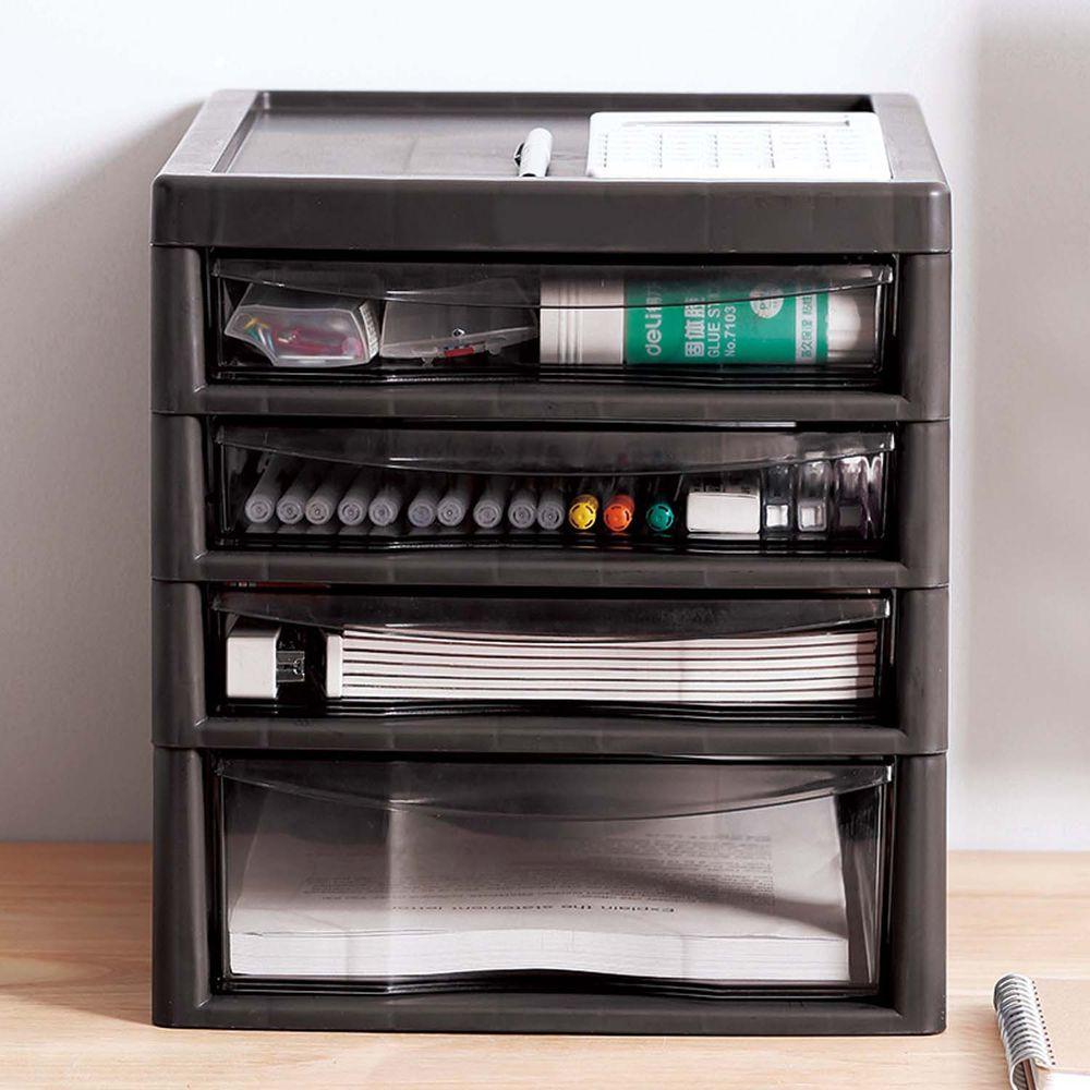 日本JEJ - 辦公桌上型A4文件收納櫃-1大抽3小抽-深棕