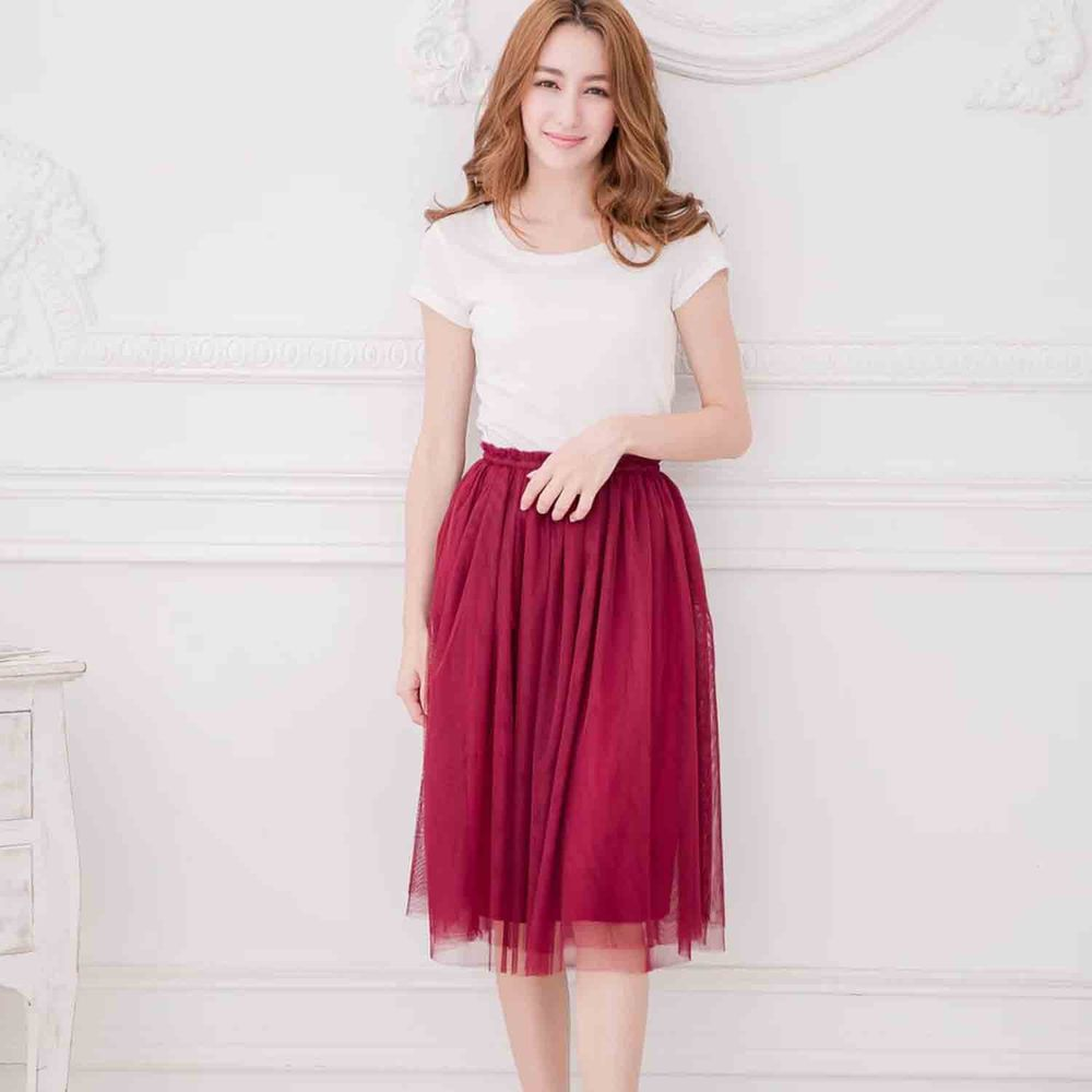 Peachy - 獨家訂製綿柔半身紗裙-半身中長版-性感酒紅 (F)