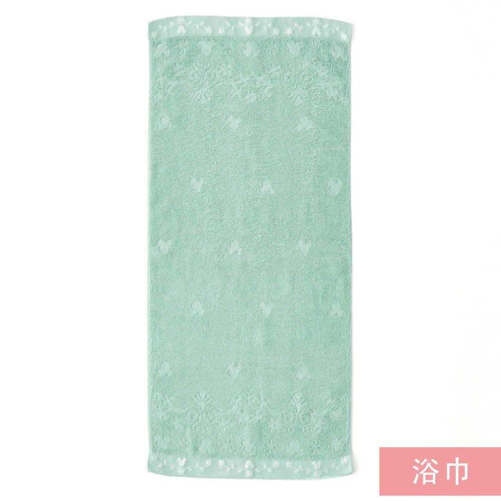 日本千趣會 - 日本製 迪士尼純棉今治浴巾-葉子刺繡-薄荷 (60x120cm)