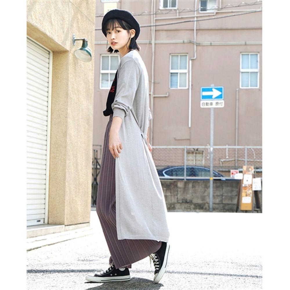 日本 zootie - 涼感X防曬速乾 綁帶長版罩衫/外套-氣質灰