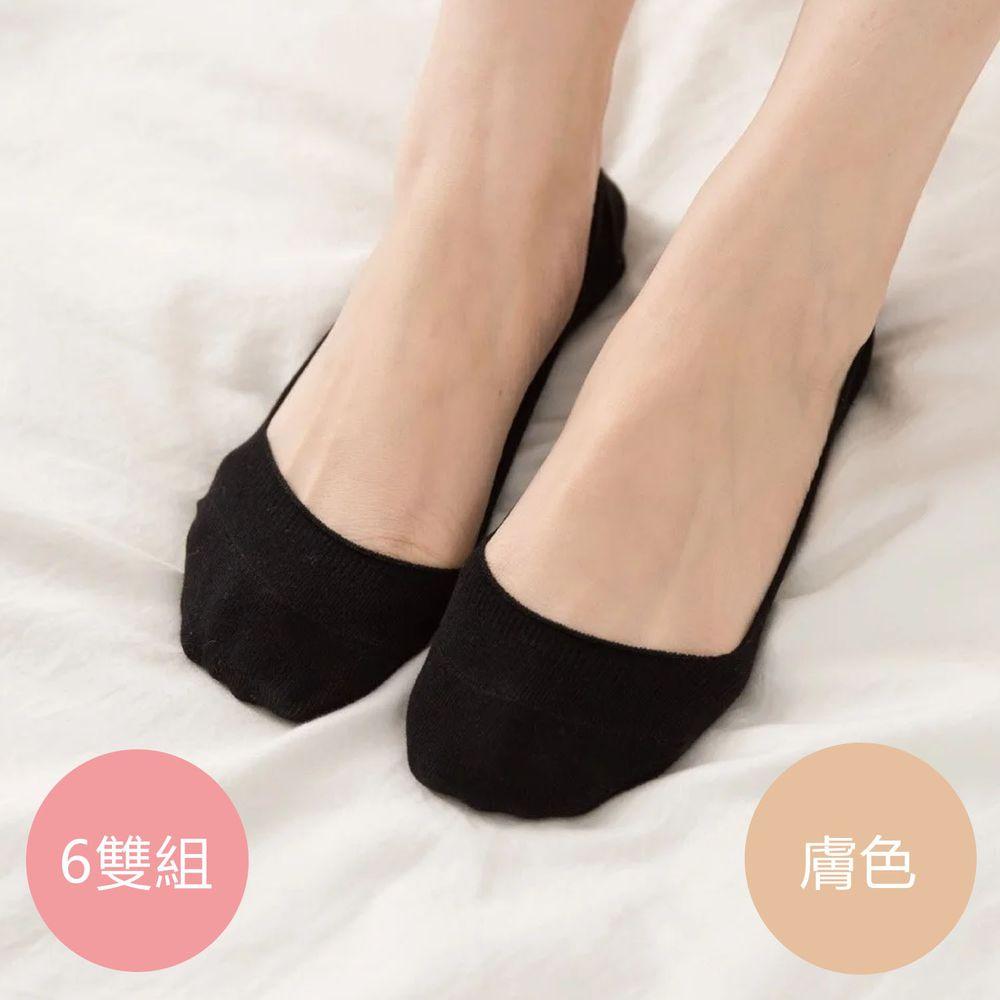 貝柔 Peilou - 貝柔0束痕柔棉止滑襪套-彩色繽紛/素色(6雙組)-膚色 (22-26 cm)