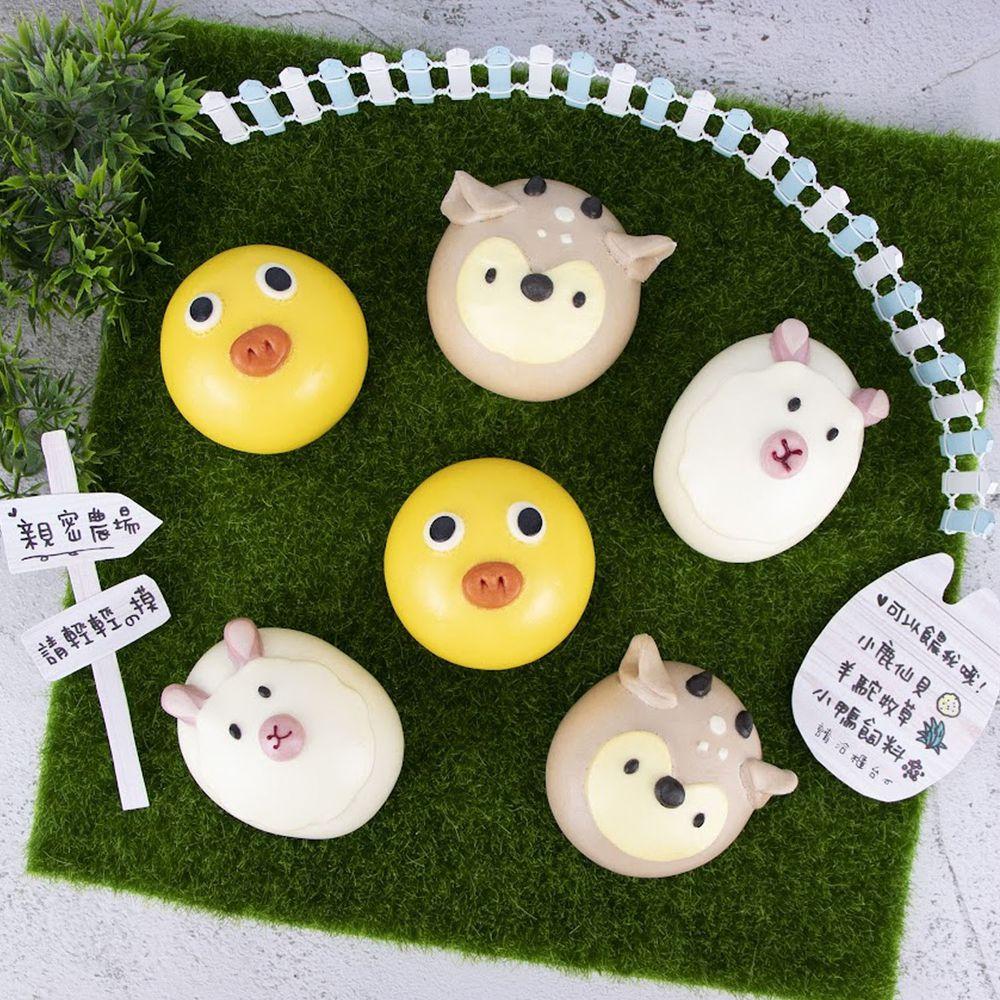 艾酷奇 - 親密農場組 (6入盒裝)-羊駝包子(紅豆)X2、梅花鹿包子(地瓜起司)X2、呆呆小鴨(芋泥)X2 (390公克±3%)-團購專案