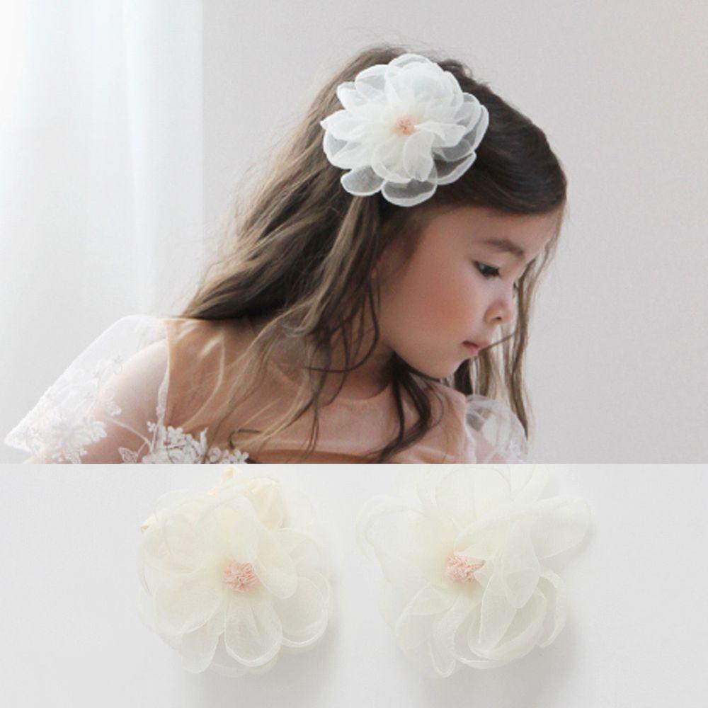 韓國 Babyblee - 浪漫網紗大花朵髮帶+髮夾2入set-米