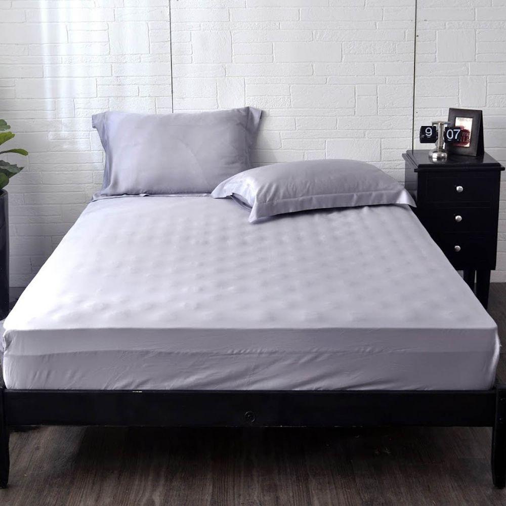 格蕾寢飾 Great Living - 義大利La Belle《簡約純色》天絲床包枕套組-灰色