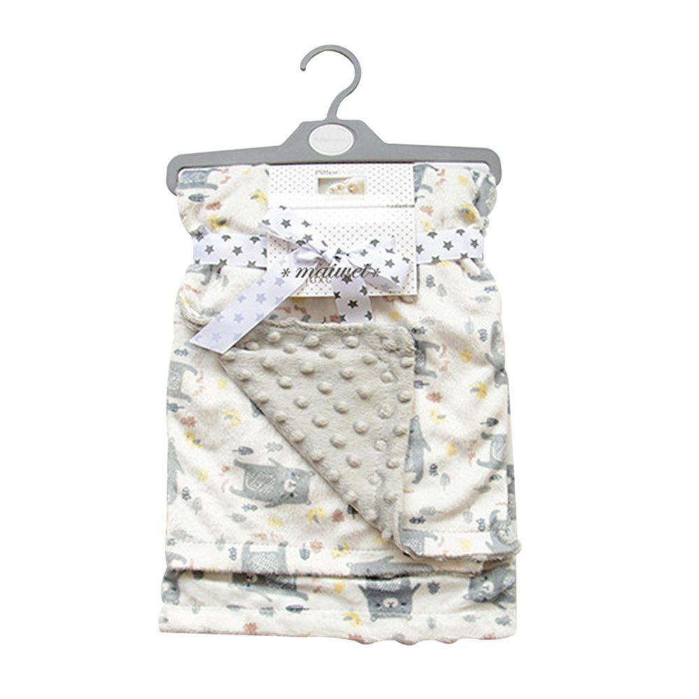 JoyNa - 雙層印花保暖蓋毯 包巾-灰色小熊 (75*120cm)