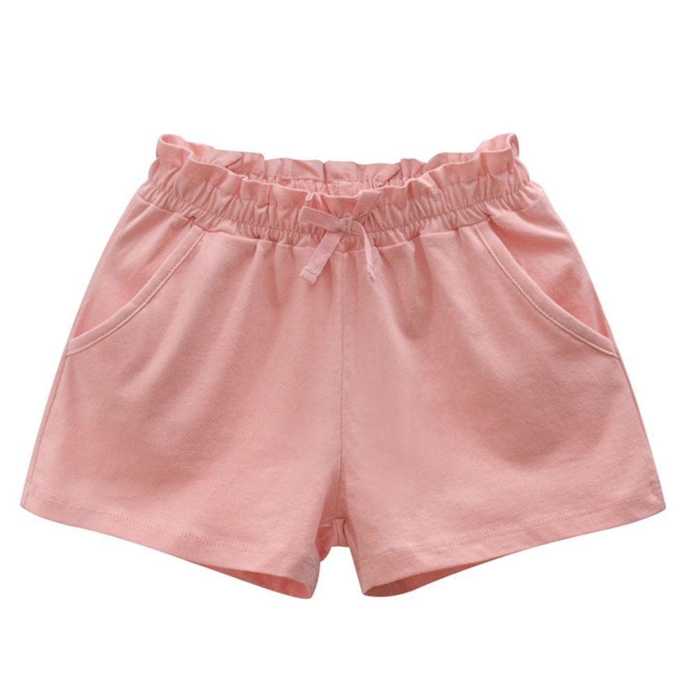 花邊鬆緊純棉短褲-粉色