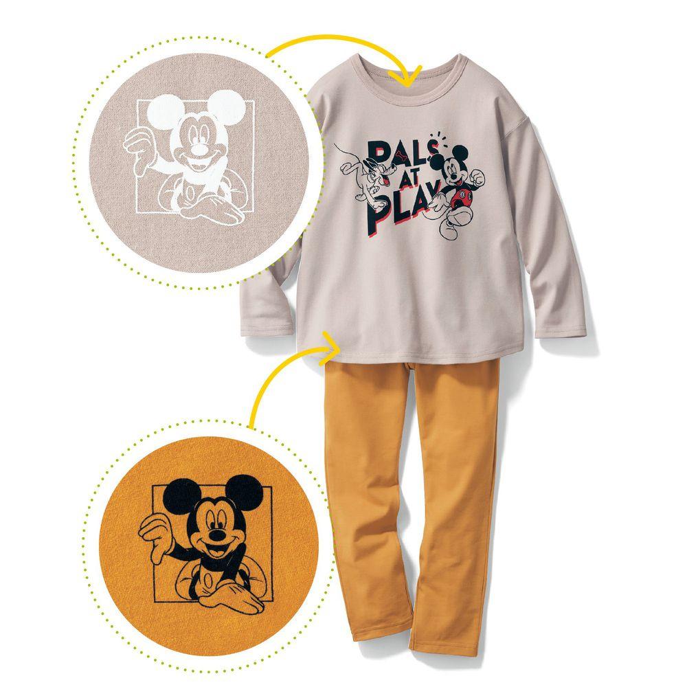 日本千趣會 - 迪士尼百搭長袖套裝-米奇布魯托-灰黃