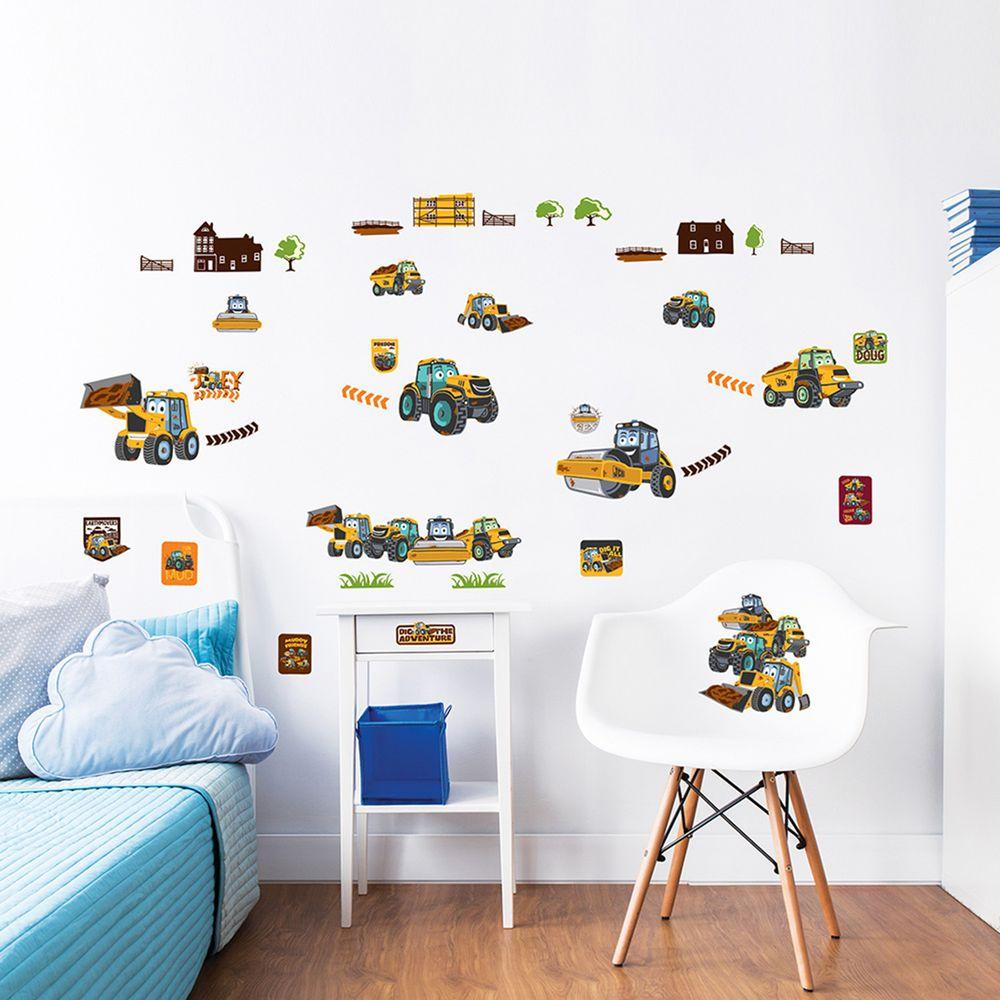 英國 Walltastic - 童趣壁貼-挖掘車-38張貼紙