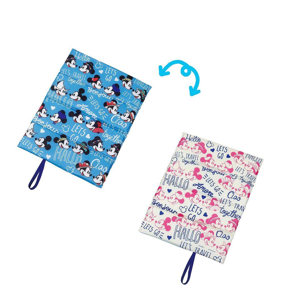 日本 Pearl 金屬 - 迪士尼單人折疊坐墊(1cm厚)-米奇米妮情侶裝-藍X白 (34×27.5cm)