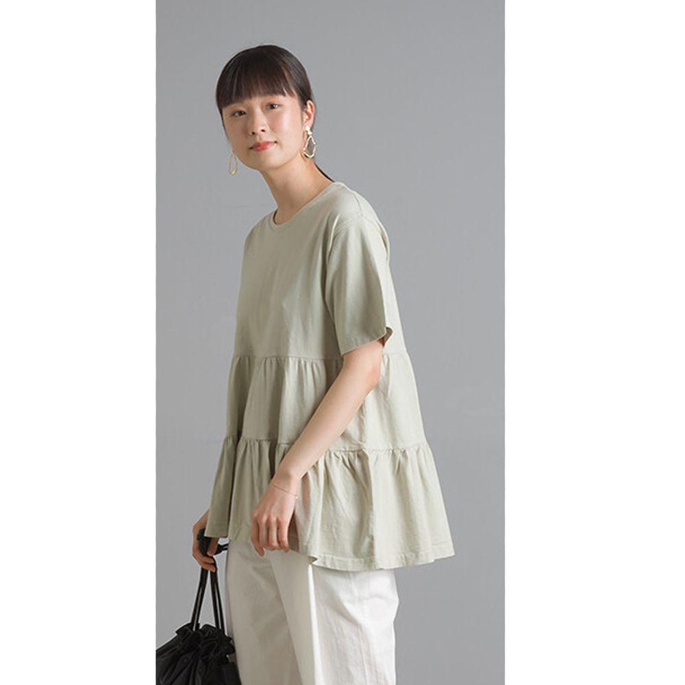 日本 OMNES - 蛋糕純棉短袖上衣-薄荷綠 (Free size)