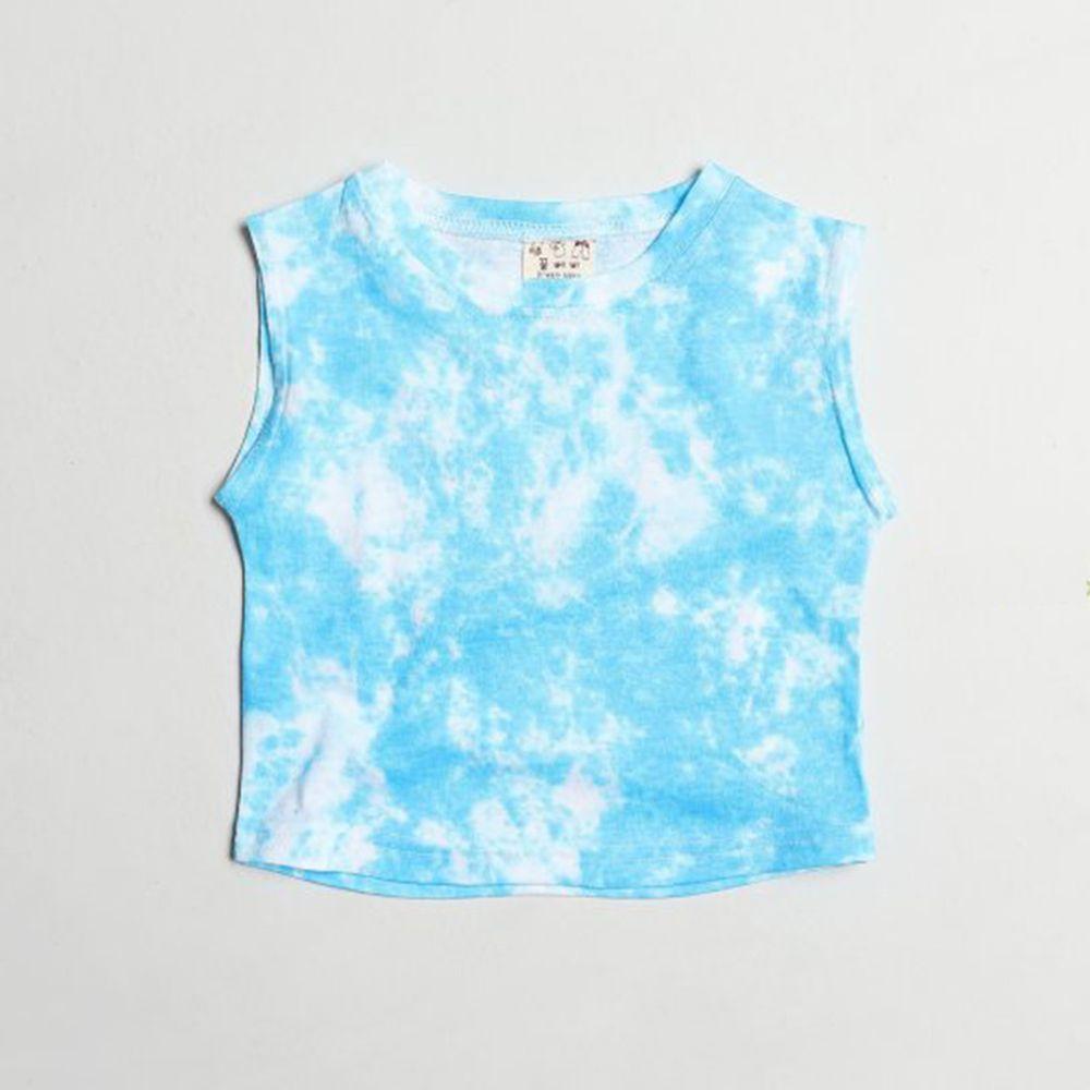 韓國製 - 渲染無袖T-藍