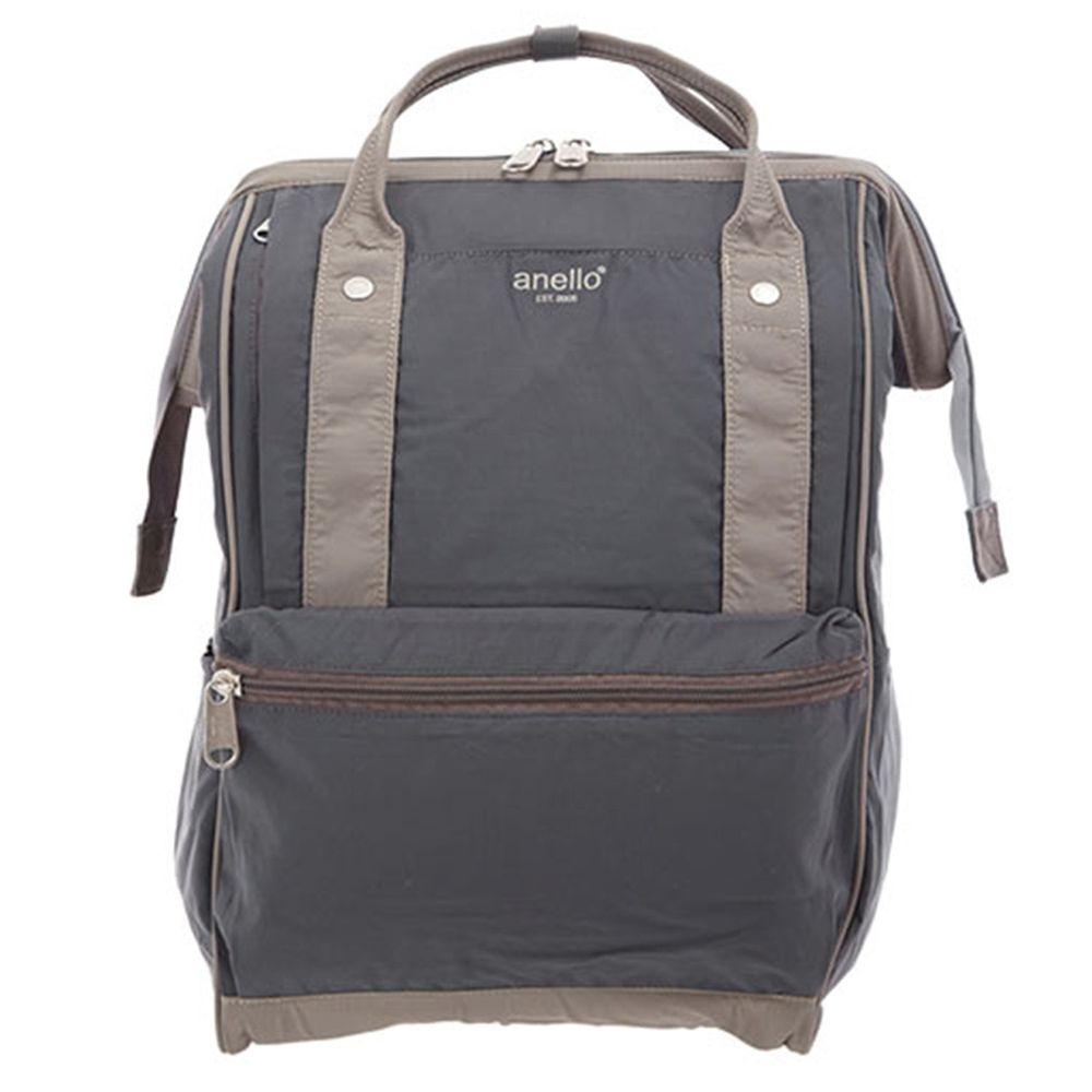 日本 Anello - 棉質尼龍風大開口後背包 10POCKET-Regular大尺寸-GY灰
