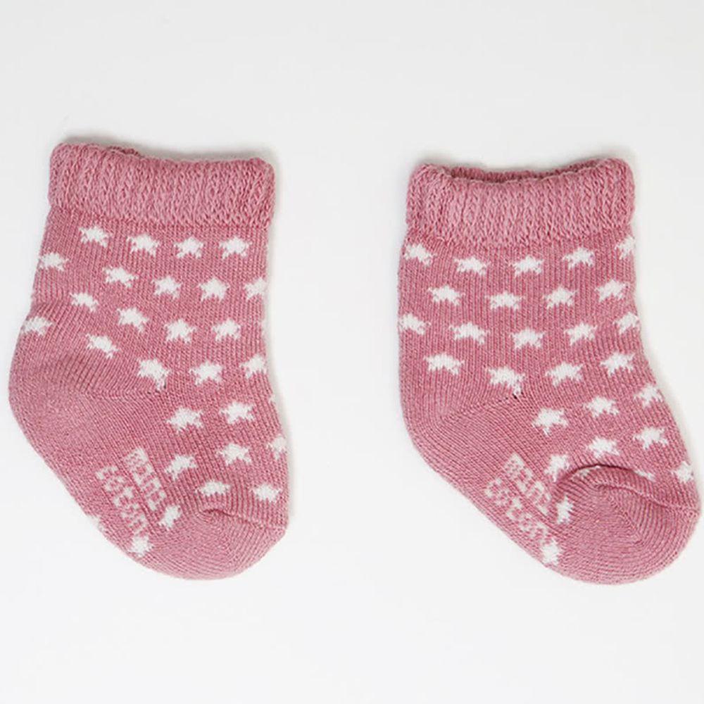 西班牙 Minicoton - 純棉寶寶短襪單入組-粉底星星 (0-6M)
