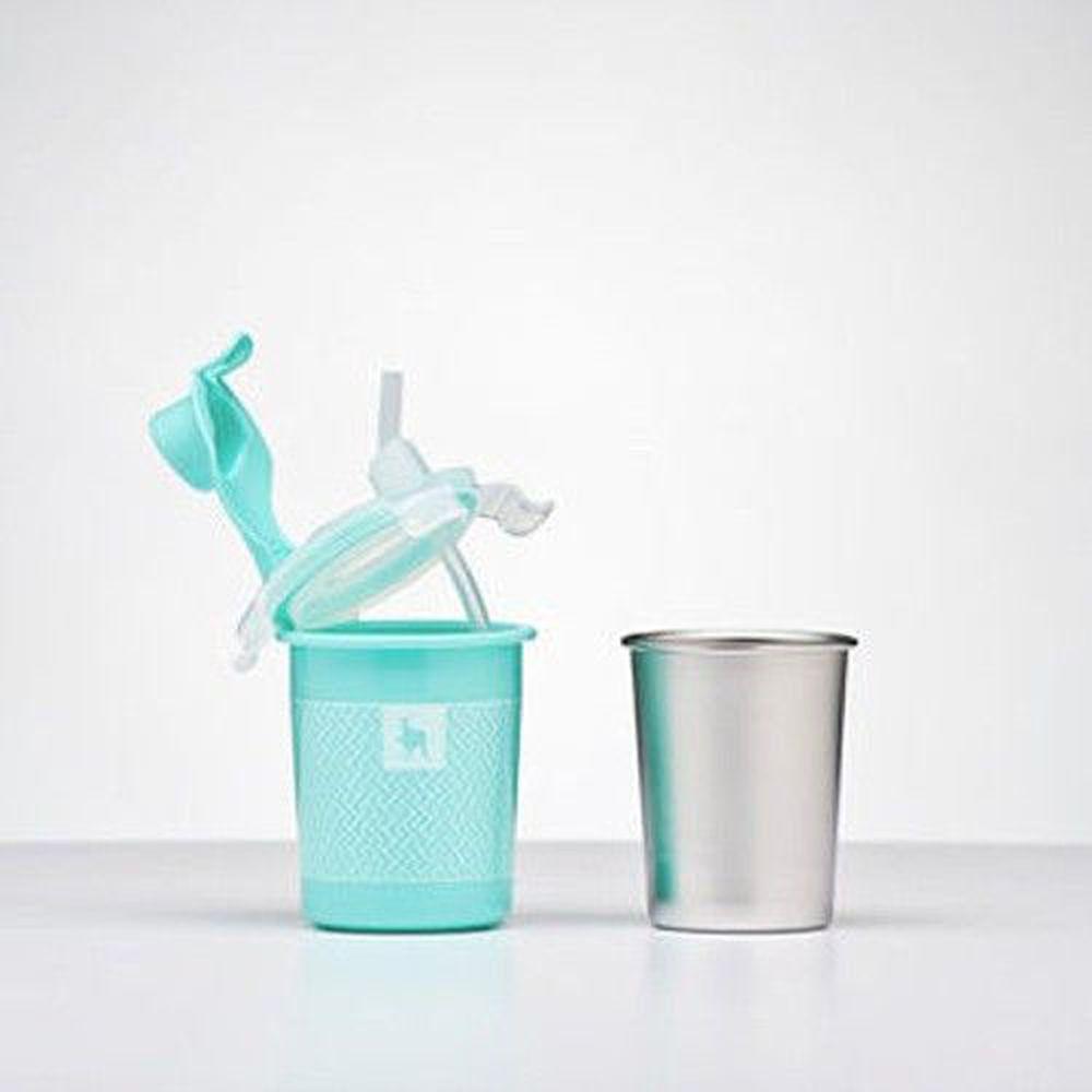 美國 Kangovou - 不鏽鋼安全兒童餐具-兩用杯-薄荷綠 (8*8*13(長*寬*高))