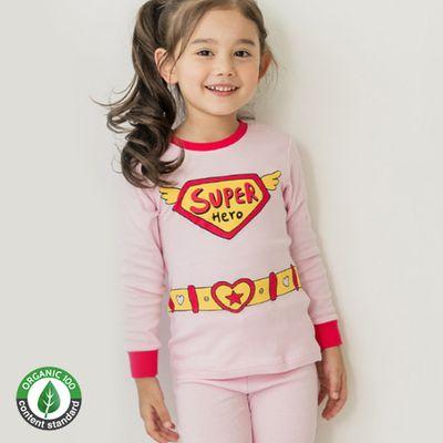 (現貨)30支有機棉長袖家居服-超級英雄-粉紅