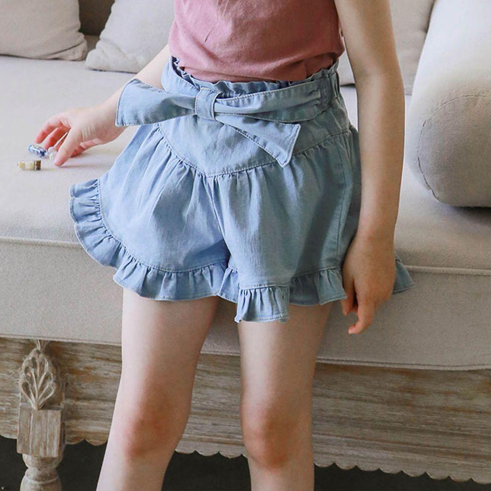韓國 PuellaFLO - 荷葉褲管大蝴蝶結牛仔褲裙-淺藍