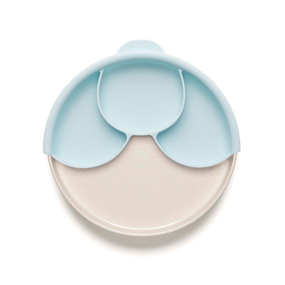 美國Miniware - 微兒天然寶貝用品系列-聰明分隔餐盤組-牛奶薄荷綠-竹纖維麵包盤*1 矽膠分隔盤*1 矽膠防滑吸盤*1