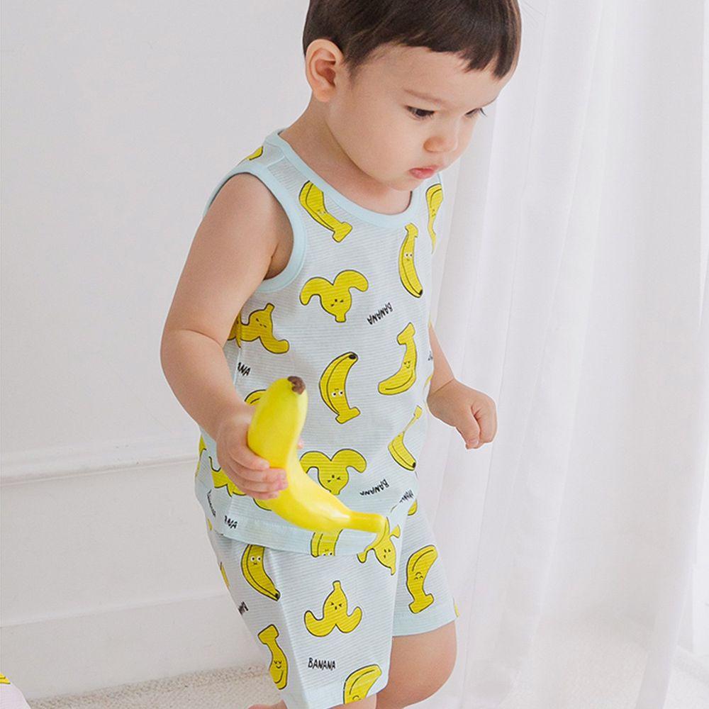韓國 Cordi-i - (剩110,120)無螢光棉輕薄透氣無袖家居服-夏日香蕉-薄荷綠