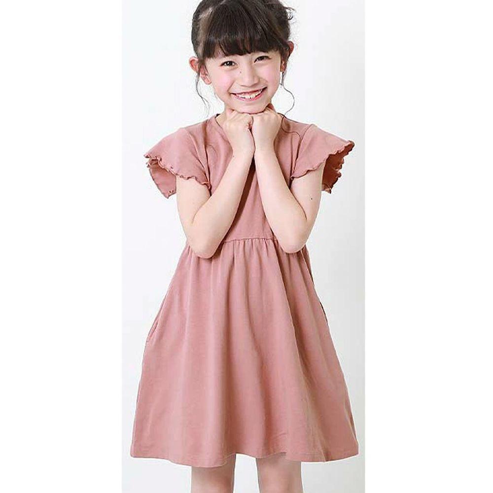 日本 devirock - 純棉木耳邊短袖小洋裝-櫻花粉