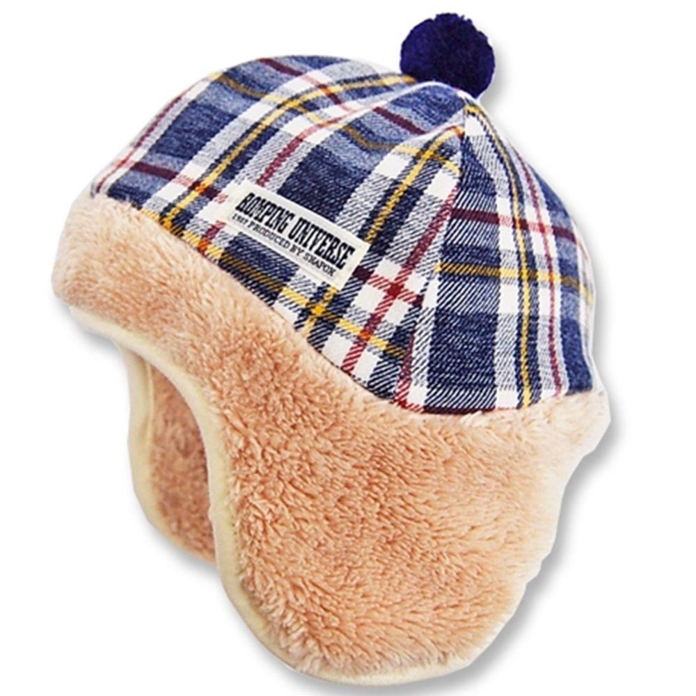 日本 ROMPING UNIVERSE - 日本製可愛冬帽-小童款-遮耳帽_藍格紋-83-2010