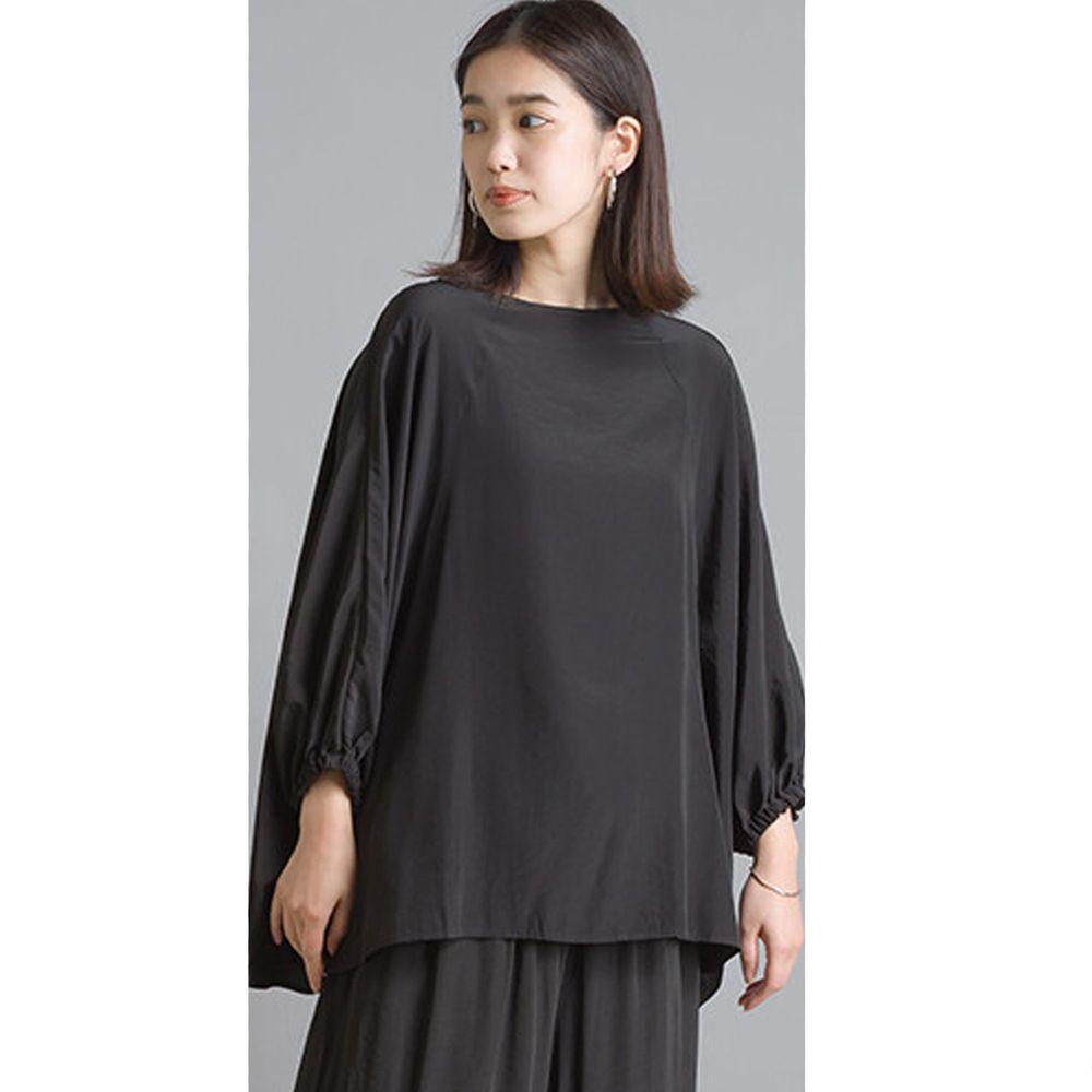 日本 OMNES - 仙氣飄飄光澤感七分袖上衣-黑 (Free size)
