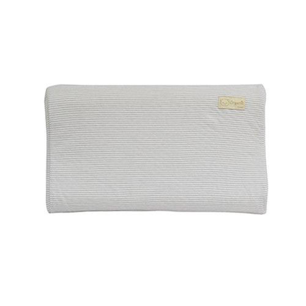 日本 Combi - 有機棉兒童護頸乳膠枕-經典條紋系列-寧靜灰 (50x30x9cm)-6個月起