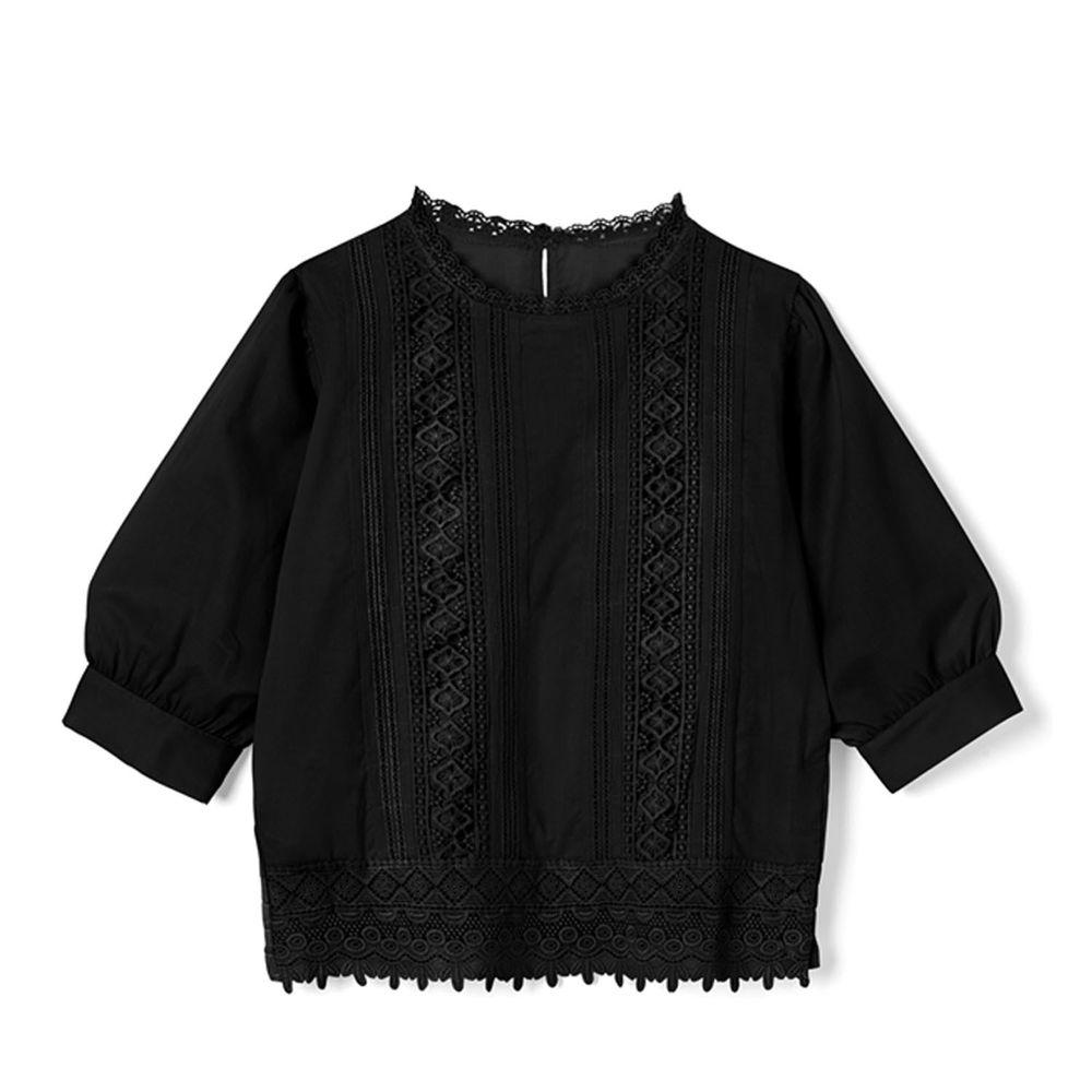 日本 GRL - 浪漫雕花蕾絲拼接五分袖上衣-時尚黑