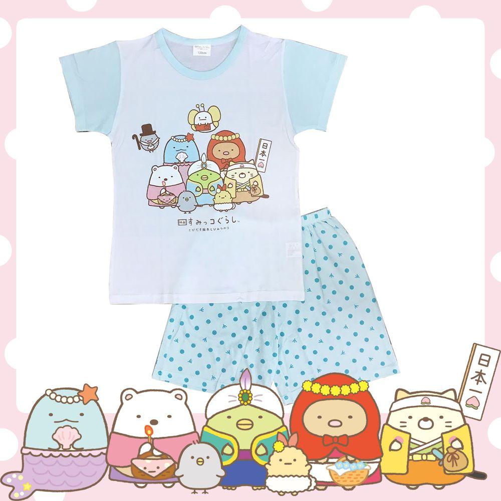 角落小夥伴 - 台灣製兒童短袖套裝-電影版-藍