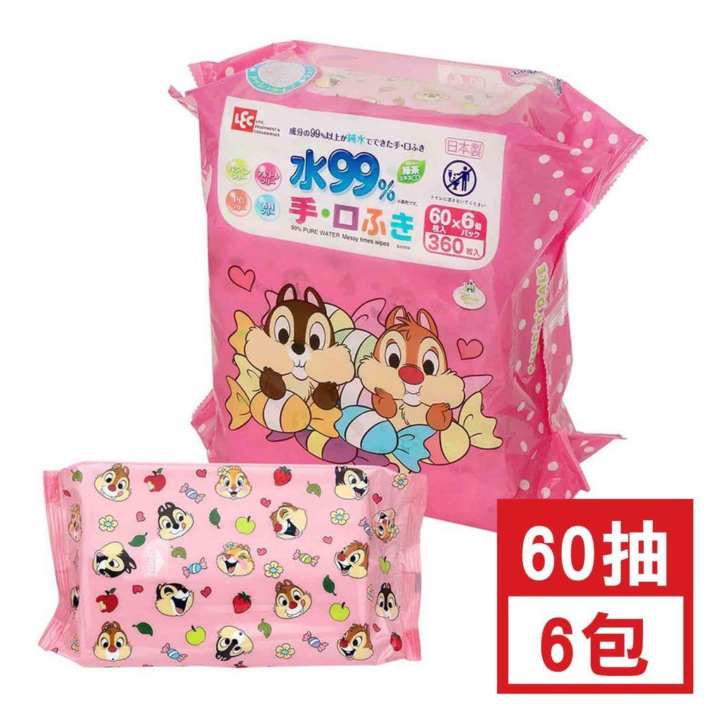 日本 LEC - 純水99%口手專用濕紙巾-迪士尼-奇奇蒂蒂-60抽x6包入