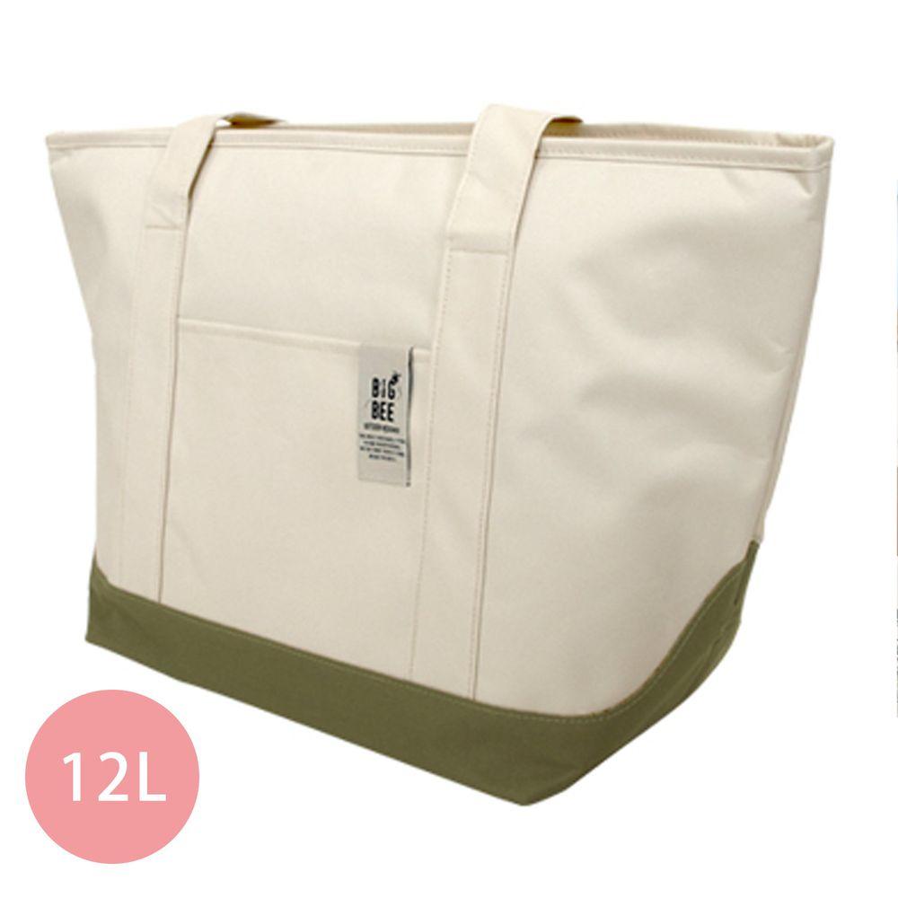日本 Big Bee - 保冷機能肩背包/購物袋-米白 (M(50x52cm))-12L