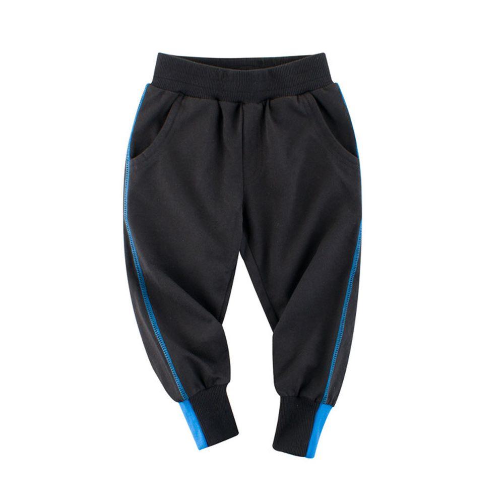 純棉長褲-縮口撞色-黑色