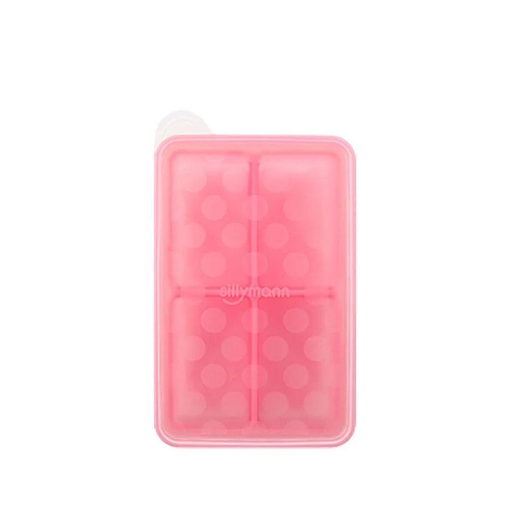 韓國 sillymann - 100%鉑金矽膠副食品分裝盒-4格-粉紅-100ml/格